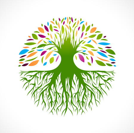 vida: Ilustración de multicolores ronda árbol vitalidad Resumen Vectores