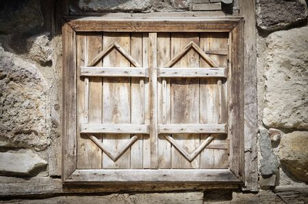wooden window: Vintage Rustic Closed Wooden Window Stock Photo