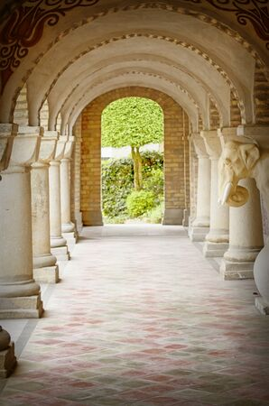 architectural exteriors: Vintage Stone Arc Path in Old Residence