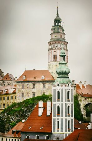 krumlov: Center of Old Town of Cesky Krumlov, Czech Republic