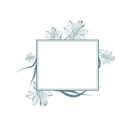 borders plants: One colored Abstract Vintage Lily Flower Frame, Copyspace