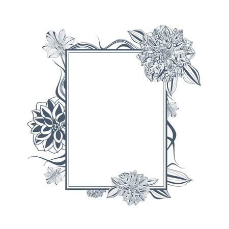 dahlia: One colored Abstract Vintage Lily and Dahlia Flower Frame, Copyspace