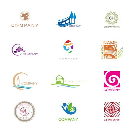 Different company Design Collection With Company in Free Font Arial Illustration