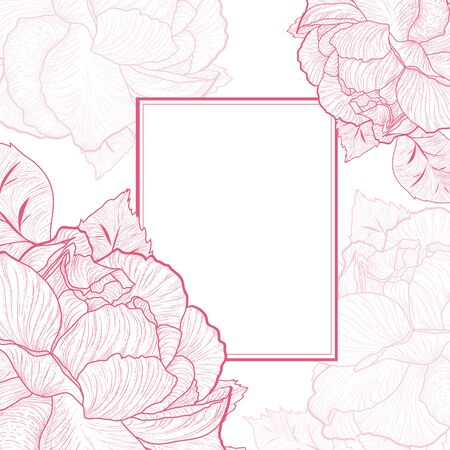 borders plants: One colored Abstract Vintage Rose Flower Frame, Copyspace