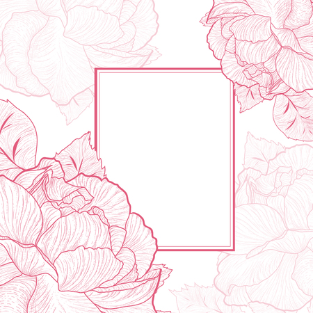 roses garden: One colored Abstract Vintage Rose Flower Frame, Copyspace