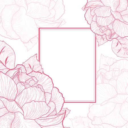 Un marco de color rosa Flor abstracta de la vendimia, Copyspace Ilustración de vector