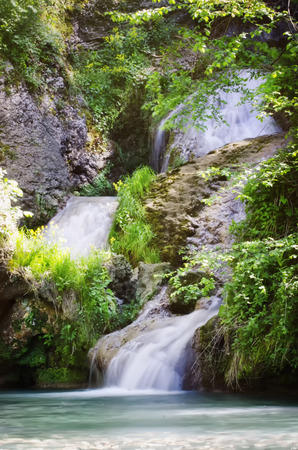 cascade mountains: Photo of Waterfall in Springtime