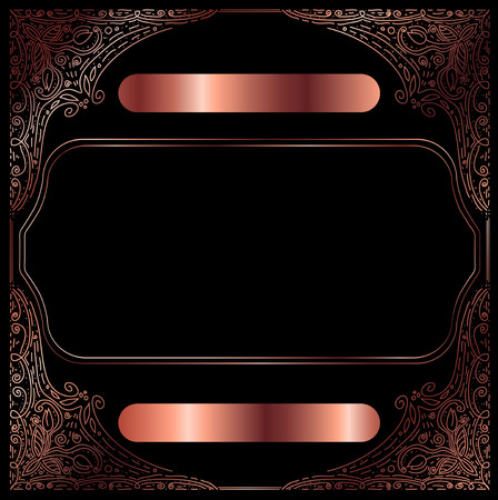 ?opper Vintage Decorative Frame With Copyspace Over Black Background