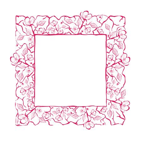 plant delicate: Spring Flower Frame or Border Over White, Copyspace