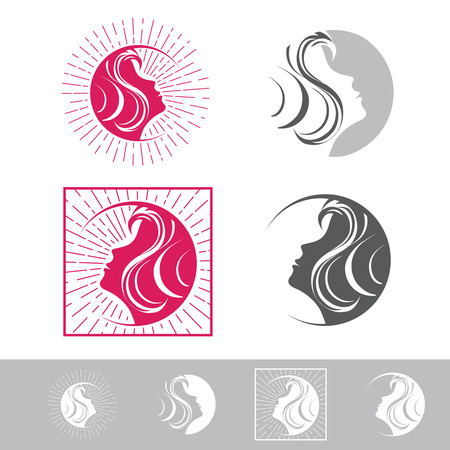 female beauty: Woman Face Beauty Logo Design Collection