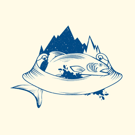 logo poisson: Poissons logo Avec Montagne et ruban, Copyspace Illustration