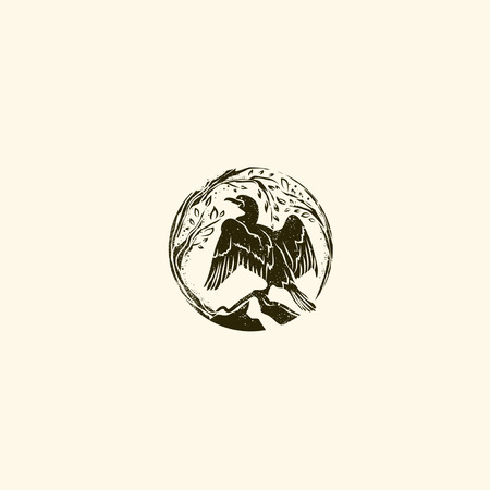 Abstract Round Cormorant Wild Vintage Logo Design Illustration
