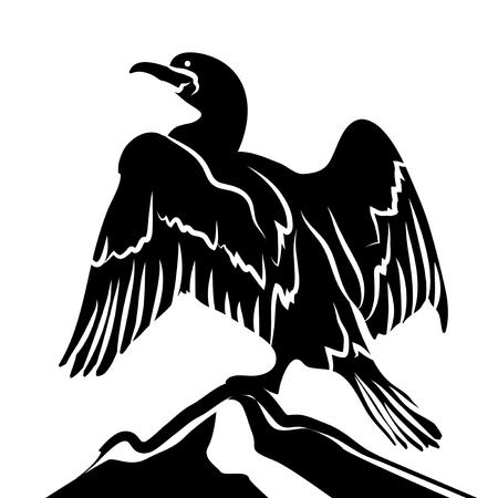 cormorant: Abstract Cormorant in Black Over White Background