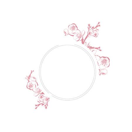 borders plants: Vintage Spring Blossom Flower Round Frame Over White Background, Copyspace