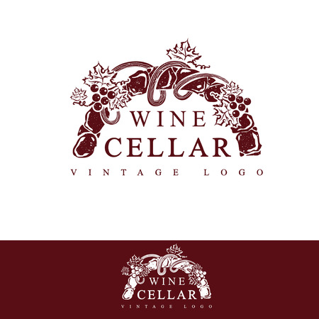 wine grapes: Wine Cellar Vintage Logo Design (in text used free font Times New Roman) Illustration