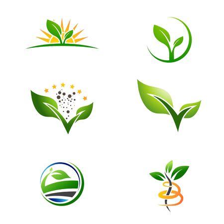 Landwirtschaftliche Farm Naturpflanze wachsen Logo-Sammlung