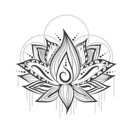 Illustration of Abstract Tattoo Logo Design of Lilly Lotus Flower Illustration