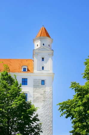 history building: Bratislava Castle Part Over Blue Sky