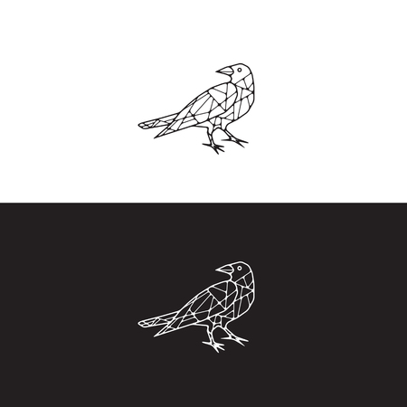 Abstract Mesh Illustration of Raven