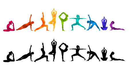 Detailed colorful silhouette yoga vector illustration. Fitness concept gymnastics aerobics.