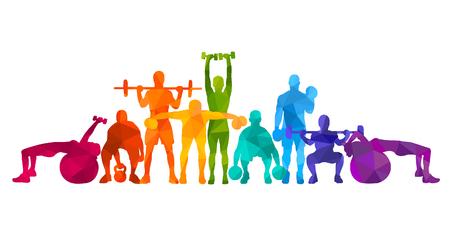 Illustrazione vettoriale dettagliata sagome forte rotolamento persone impostare ragazza e uomo sport fitness palestra body-building allenamento powerlifting allenamento salute manubri bilanciere. Uno stile di vita sano. Crossfit