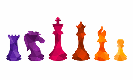 Chess colorful figures pieces tournament game vector illustration Illustration