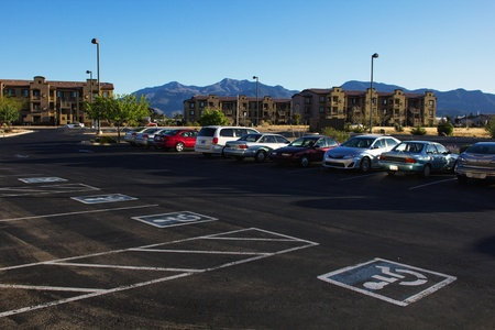 Unoccupied disabled parking places in hotel parking lot  In Sierra Vista, Arizona  Editorial