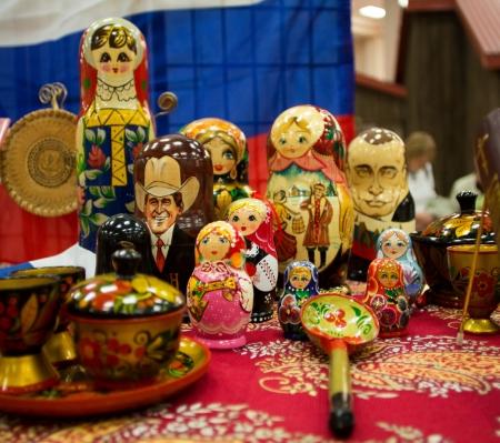 matrioska: Russian matrioska souvenirs closeup  Indoors diversity fair  Stock Photo