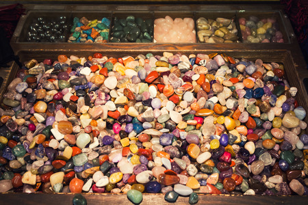 The energy of a box full of colorful mixed gemstones Stock Photo - 22641931
