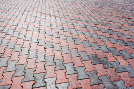 flagging: Urban walkway made of red and grey bricks - flagging surface patern