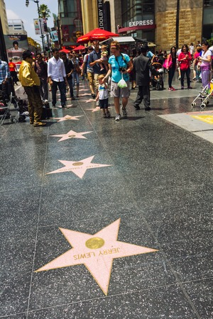 walk of fame: Los Angeles, CA, USA - may 2013: People moving on the walk of fame.