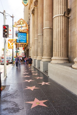 Los Angeles, CA, USA - may 2013: Tourist walking on the sidewalk of the famous Hollywood Walk of Fame boulevard