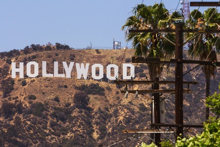 daytime: Los Angeles, CA, USA - may 2013: Hollywood sigh white letters located on Mount Lee  Editorial