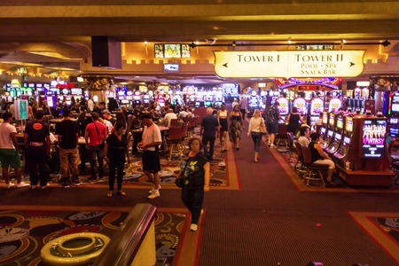 Las Vegas, NV, USA - 13th July 2013: Crowded Casino area inside Excalibur Hotel and Casino.