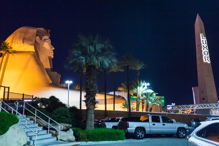 Las Vegas, NV, USA - 13th July 2013: The sphinx and the obelisk in front of Luxor Hotel and Casino.