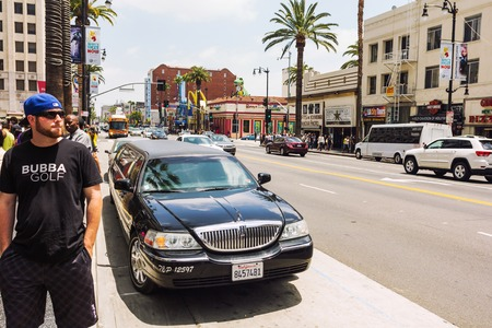 Los Angeles, CA, USA - 27th may 2013: Limousine parked on the Hollywood boulevard during the day