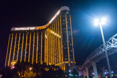 Las Vegas, NV, USA - 13th July 2013: Mandalay Bay Hotel at night. Editorial