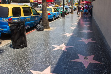 Los Angeles, CA, USA - 6th July 2013: Hollywood walk of fame in LA Editorial