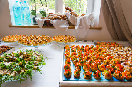 Catering food specialities prepared for an event photo