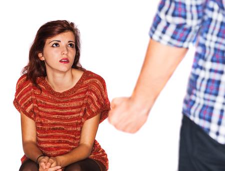 abusing: Un esposo est� abusando de su esposa Foto de archivo