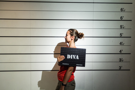 convicted: Young lady convicted to be a diva. Stock Photo