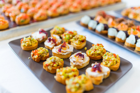 canapes: Plate with various canapes