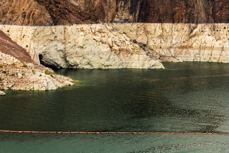 hoover dam: View of water level at Hoover Dam, on the border between US states Arizona and Nevada.