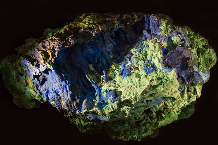 amethyst rough: Cooper ore - Azurite mineral on a black background