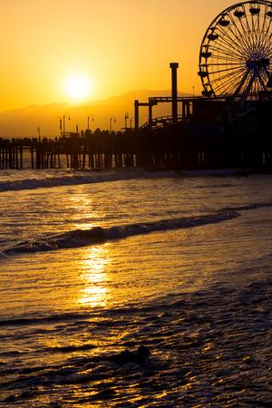 santa monica: Photo of Santa Monica Pier sunset, in Southern California, USA.