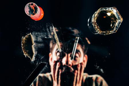 addicted: Cocaine addicted ready to snort Stock Photo