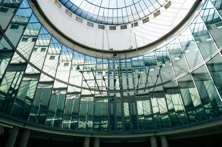 sunroof: Frankfurt, Germany - 22nd August 2015: Glass sunroof of a round room. Architectural design.