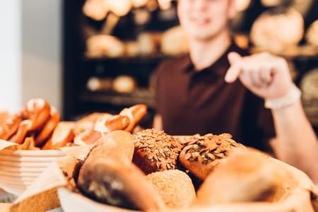 breadbasket: Breadbasket with different varieties of bread rolls Stock Photo