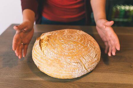 unsliced: Fresh irish bread on a wooden background
