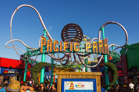 peer: Los Angeles, CA, USA - July 6, 2013: Pacific Parks main entrance on Santa Monica peer. Editorial